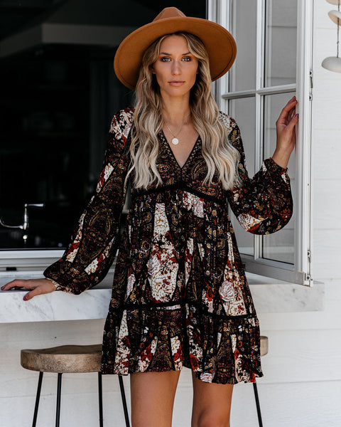 Stoked Mix Print Babydoll Dress