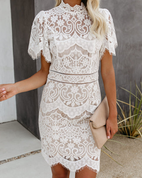 Stole The Show Mock Neck Lace Dress
