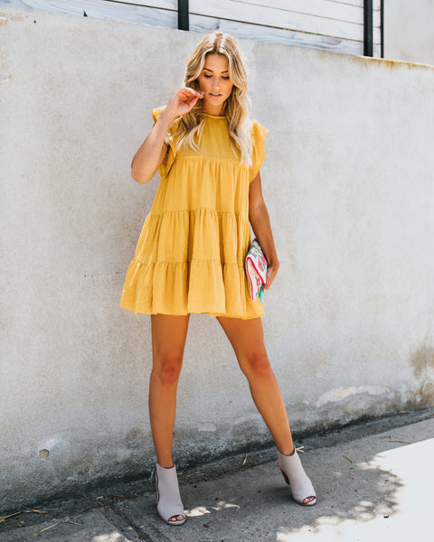Stole Your Heart Babydoll Swing Dress - Mustard