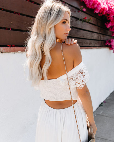 Stories From Summer Smocked Lace Maxi Dress - Ivory