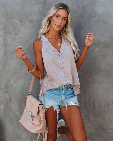 Strategy Cotton V-Neck Racerback Tank - Dusty Mauve