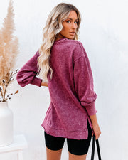 Streetwear Cotton Blend Mineral Wash Top - Wine