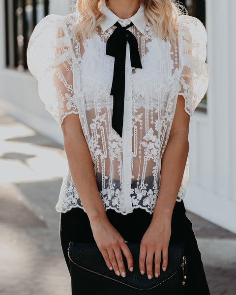 Strength And Guidance Sheer Lace Tie Blouse