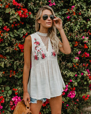 Strong Roots Embroidered Crochet Tank - FINAL SALE