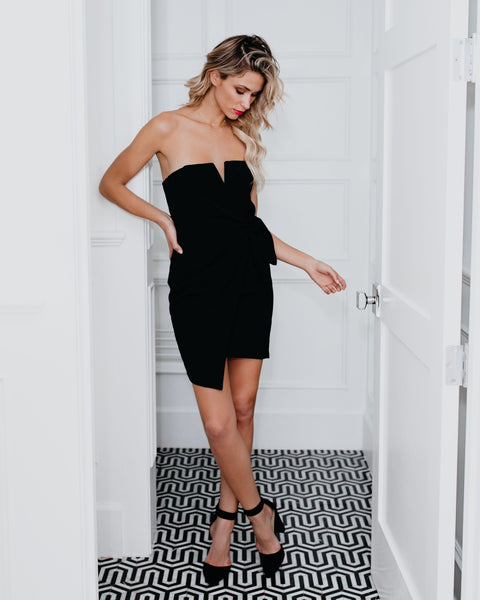 Struck By Cupid Strapless Dress - Black