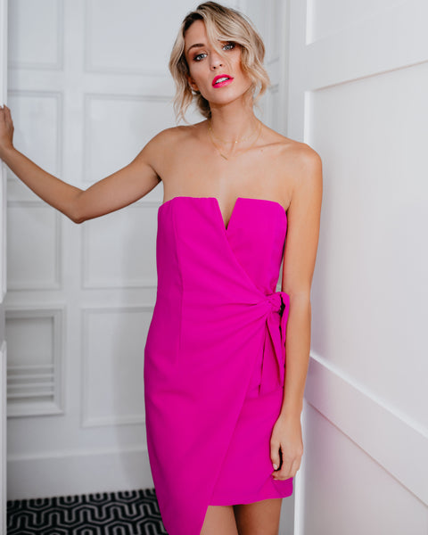 Struck By Cupid Strapless Dress - Magenta