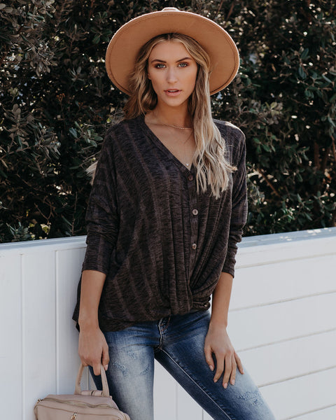 Style Source Button Down Knit Twist Top - Charcoal