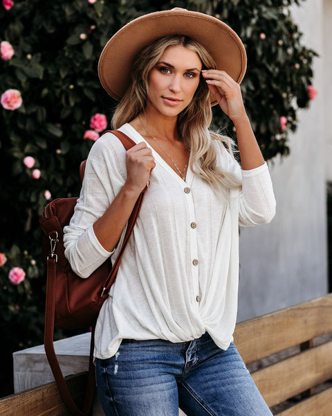 Style Source Button Down Knit Twist Top - Off White
