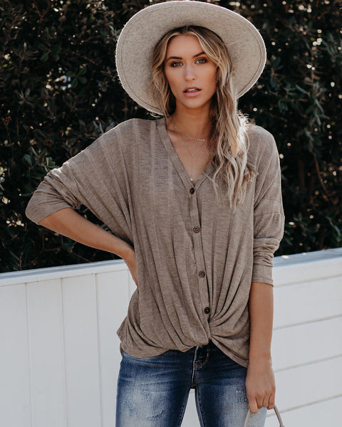 Style Source Button Down Knit Twist Top - Stone