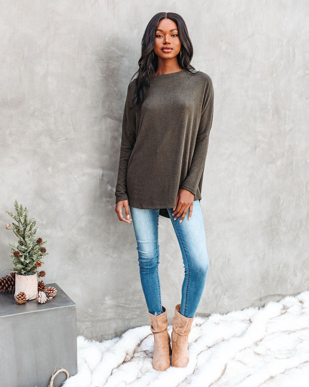 Clark Boat Neck Knit Top - Olive view 6