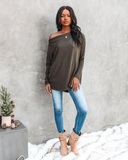 Clark Boat Neck Knit Top - Olive view 8