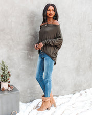 Clark Boat Neck Knit Top - Olive view 9