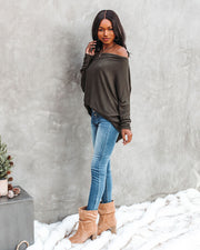 Clark Boat Neck Knit Top - Olive view 10