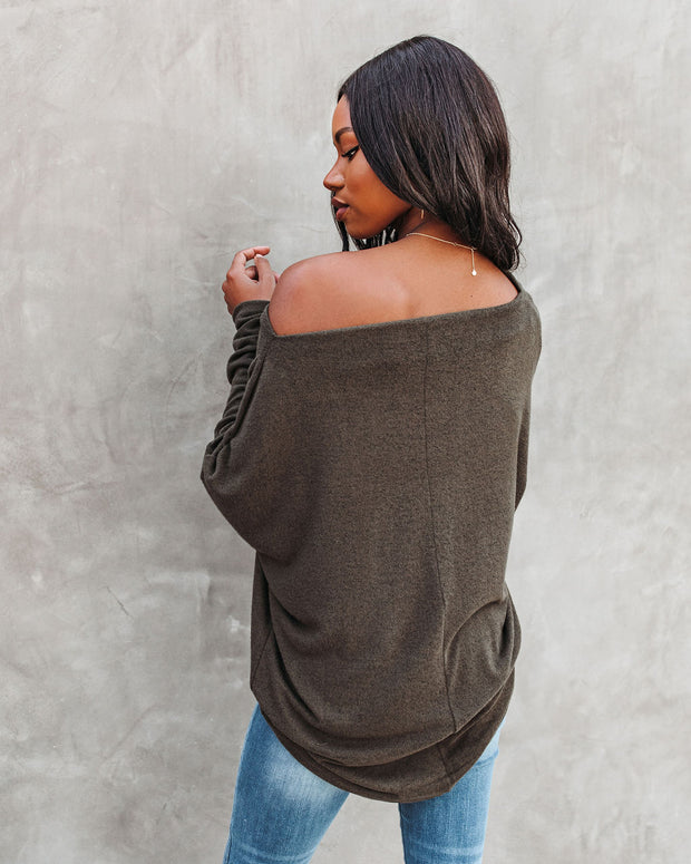 Clark Boat Neck Knit Top - Olive view 2