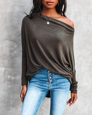 Clark Boat Neck Knit Top - Olive view 3
