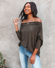 Clark Boat Neck Knit Top - Olive view 1