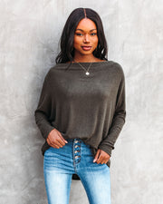 Clark Boat Neck Knit Top - Olive view 7