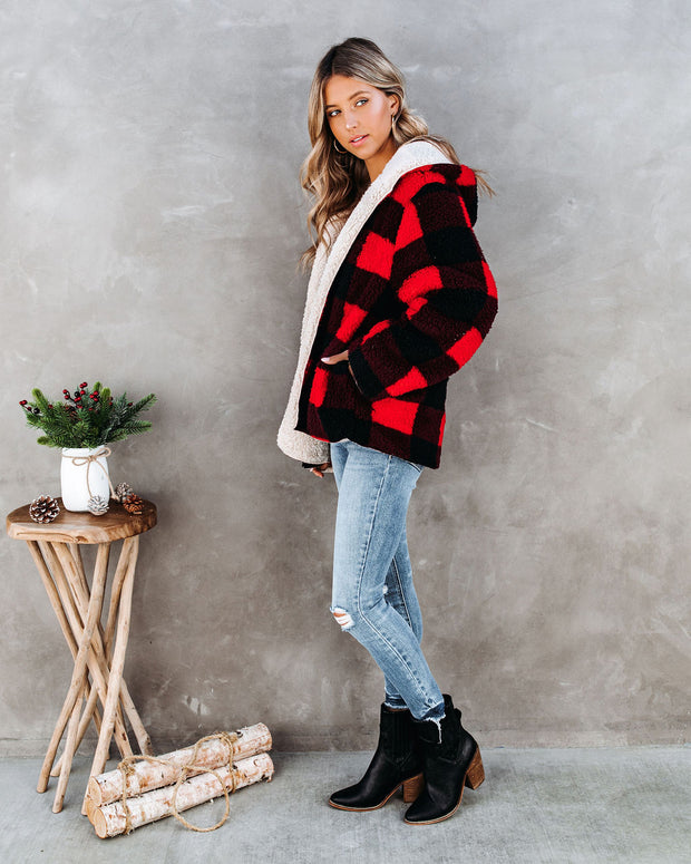 Touch Of Plaid Pocketed Reversible Sherpa Hoodie - Red