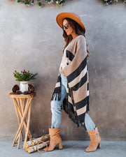 Overdrive Striped Fringe Poncho - Charcoal