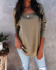 Gia Long Sleeve Thermal Knit Top - Moss