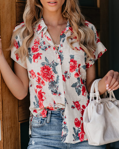 Subtropical Cotton Floral Button Down Top
