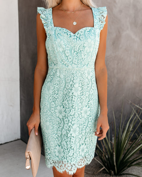 Such A Sweetheart Ruffle Lace Dress - Sage - FINAL SALE