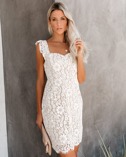 Such A Sweetheart Ruffle Lace Dress - White