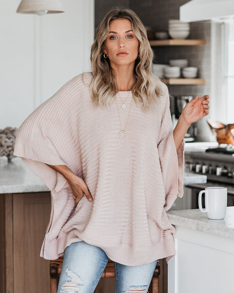 Sugar And Spice Relaxed Ribbed Sweater - Blush