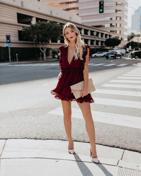 Sugar Rush Ruffle Dress - Burgundy