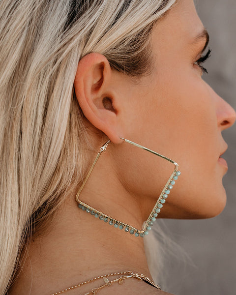 Sugar High Beaded Angular Hoops - Seafoam