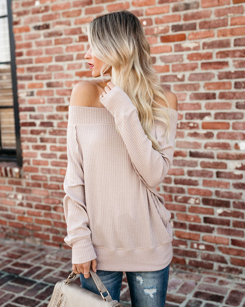 Sugar Maple Off The Shoulder Thermal Top - Taupe - FINAL SALE