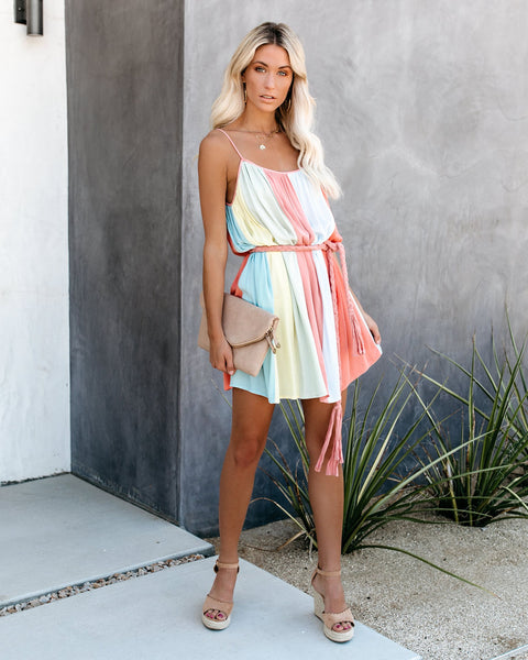 Sugar Spun Colorblock Rope Tie Dress