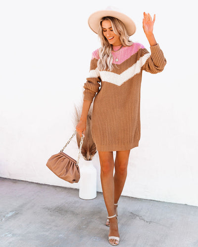 Summer Kinda Girl Chevron Knit Sweater Dress