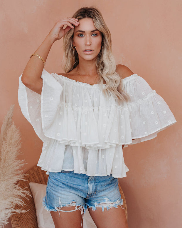 Summer Rain Cotton Off The Shoulder Embroidered Top