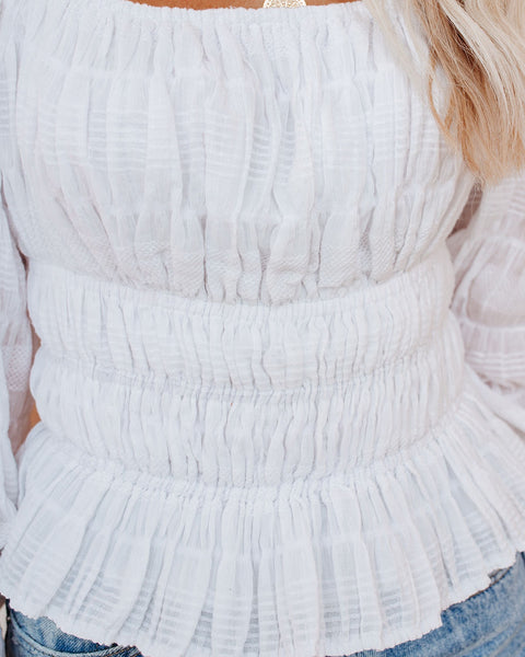 Summer Stage Cotton Smocked Top - White