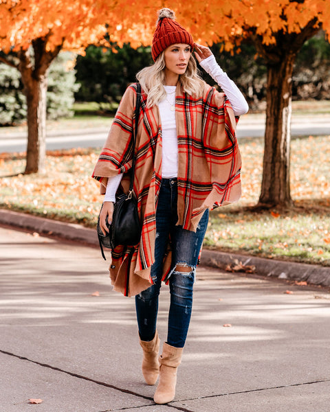 Sunday Scaries Plaid Poncho - FINAL SALE