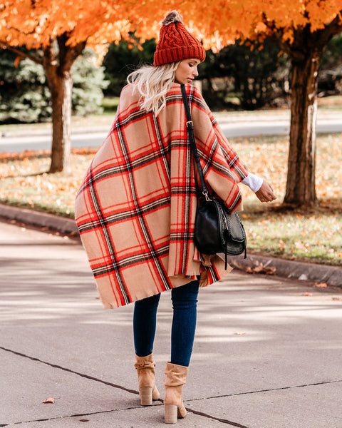 Sunday Scaries Plaid Poncho