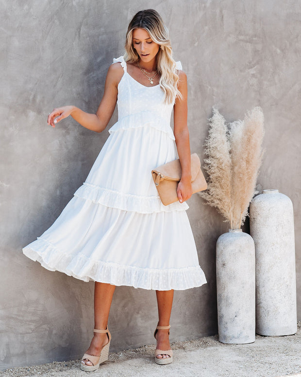 Sunflower Embroidered Eyelet Ruffle Midi Dress