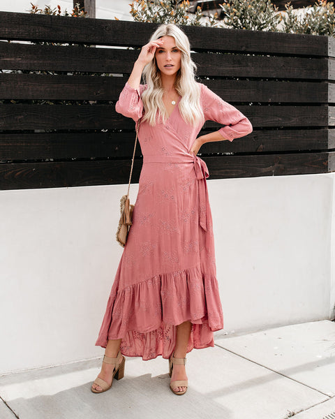 Sunlit Sky Eyelet Wrap Maxi Dress