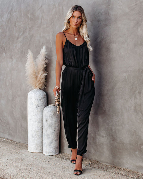 Sumner Pocketed Satin Tie Jumpsuit