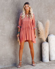 Sunseeker Cotton Embroidered Babydoll Dress - Dusty Rose view 8