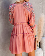 Sunseeker Cotton Embroidered Babydoll Dress - Dusty Rose view 10