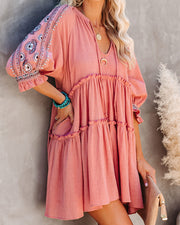 Sunseeker Cotton Embroidered Babydoll Dress - Dusty Rose view 5