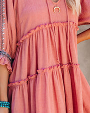 Sunseeker Cotton Embroidered Babydoll Dress - Dusty Rose view 4