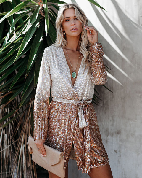 Sunset Boulevard Sequin Ombre Wrap Dress