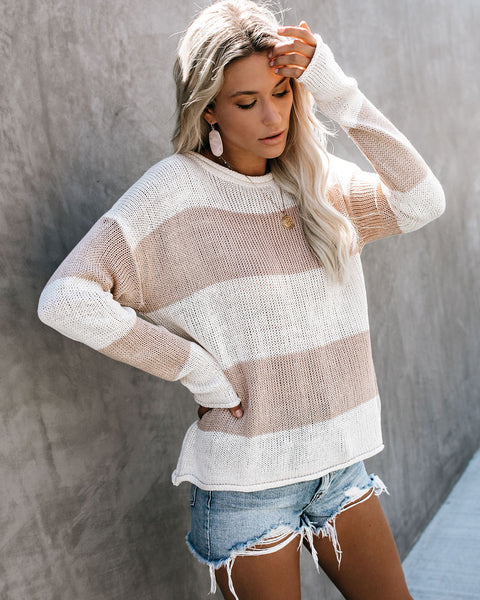 Sunset In The Sand Striped Knit Sweater