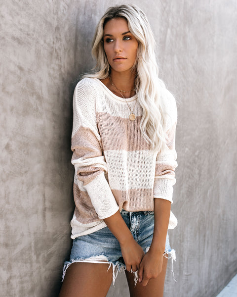 PREORDER - Sunset In The Sand Striped Knit Sweater