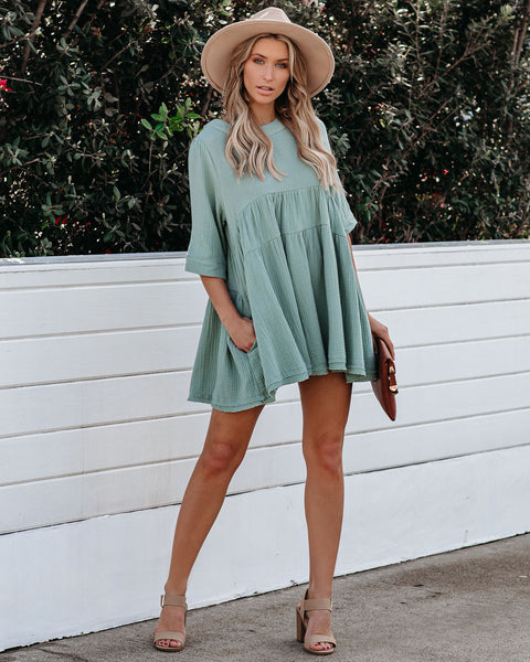 Sun Will Come Cotton Pocketed Tunic - Sage