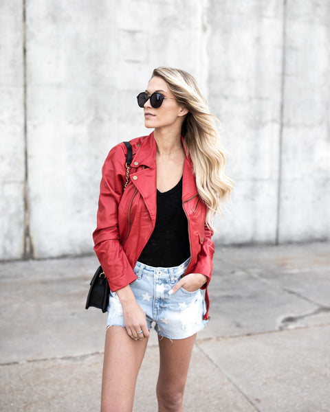 Red Hot Faux Leather Moto Jacket