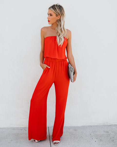 Supreme Strapless Pocketed Jumpsuit - Tomato Red - FINAL SALE